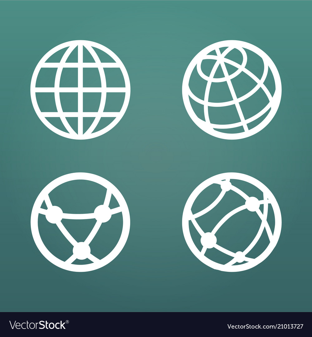 White linear globe icons set for web apps ui