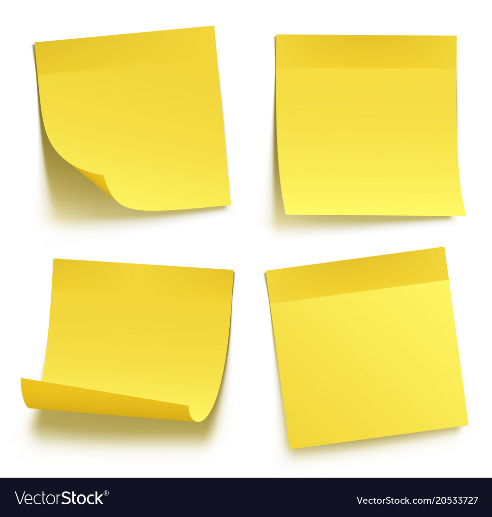 yellow sticky notes royalty free vector image vectorstock rh vectorstock com post it note vector sticky note vector illustrator