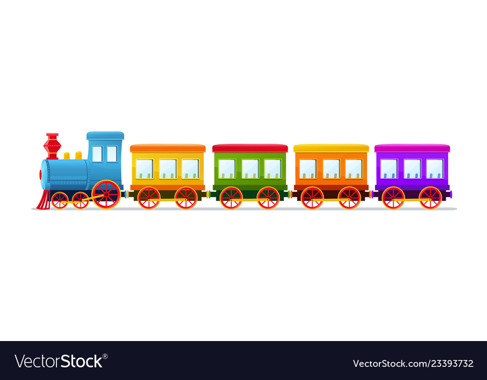 Cartoon toy train with color wagons on white