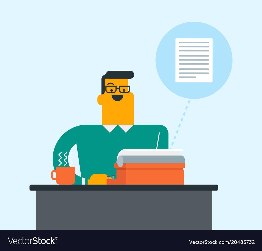 Caucasian white journalist typing on typewriter