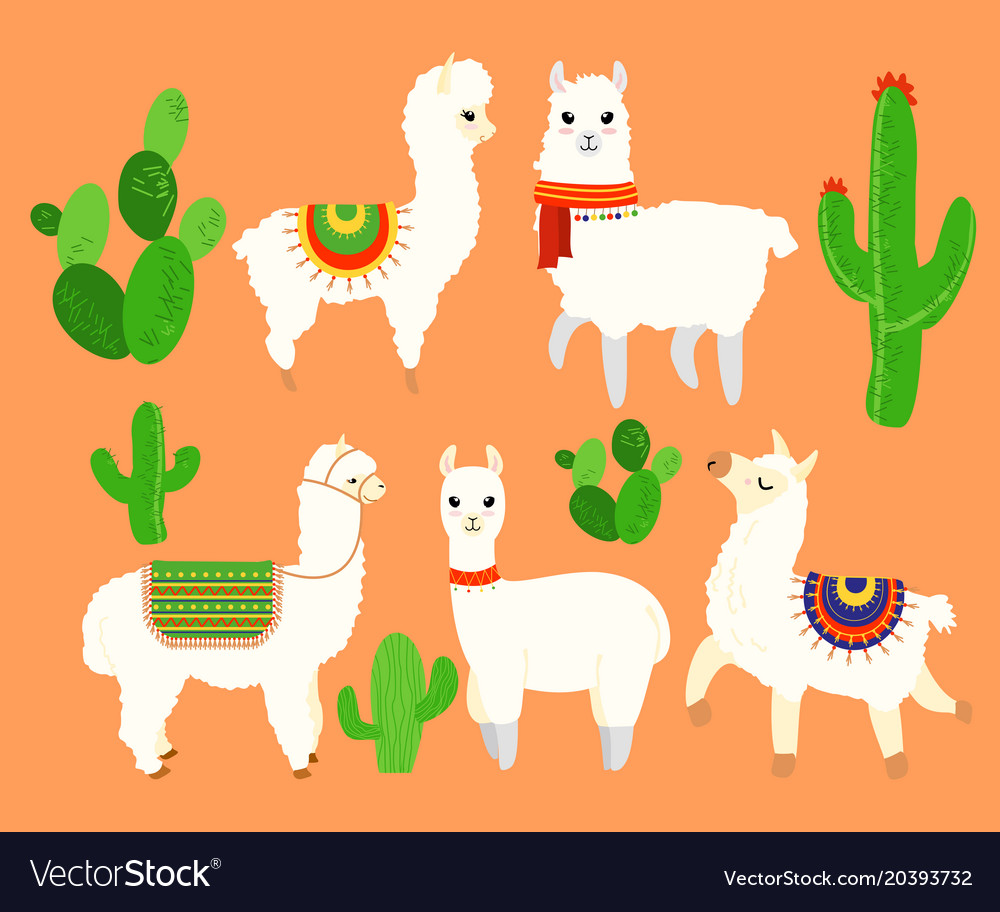 Colorful set of funny and cute lamas