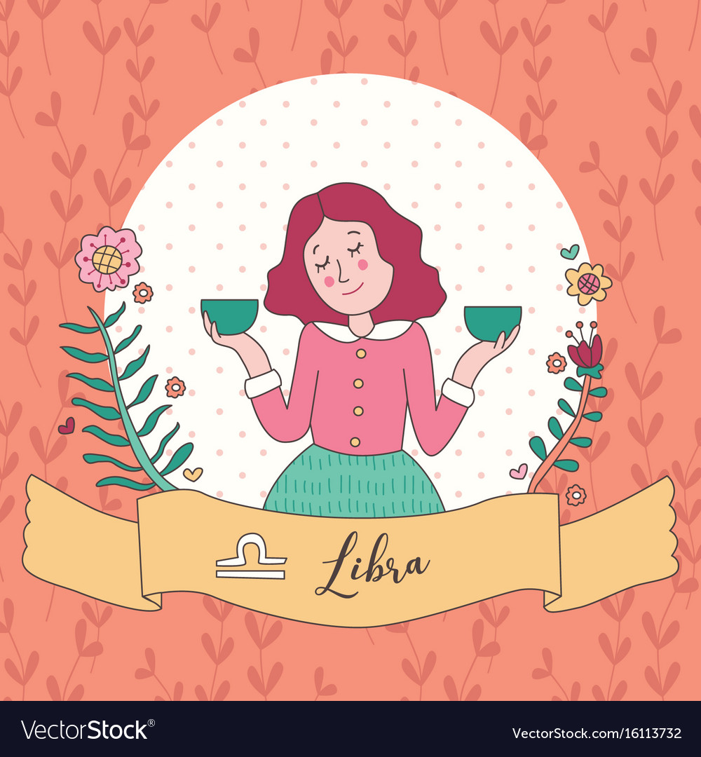 Cute horoscope zodiac girl libra