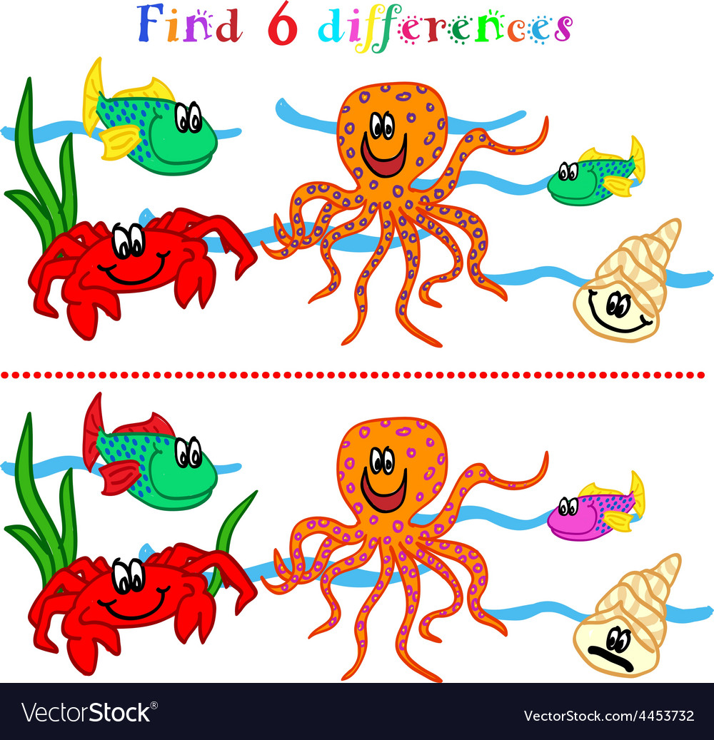 Difference game with marine life vector image