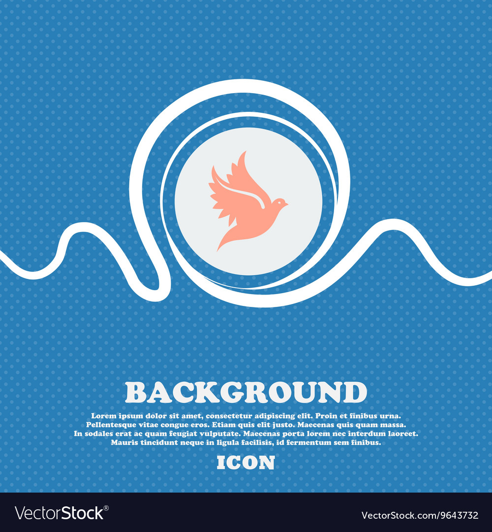 Dove sign icon Blue and white abstract background vector image