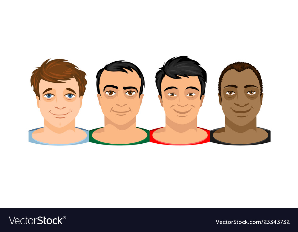 Faces of four men different kind skin
