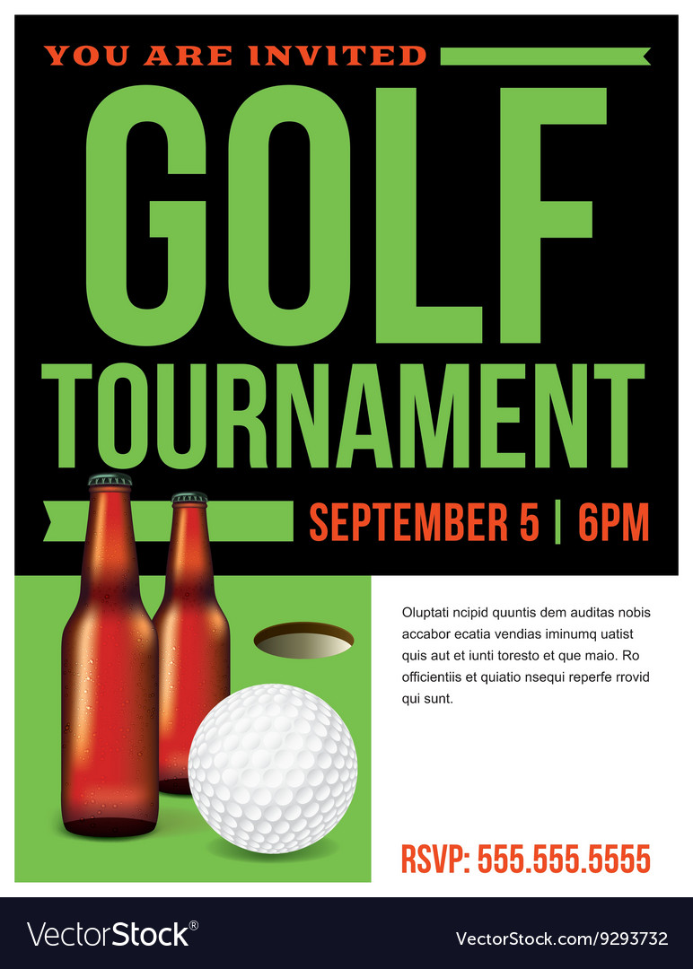 golf tournament flyer template royalty free vector image