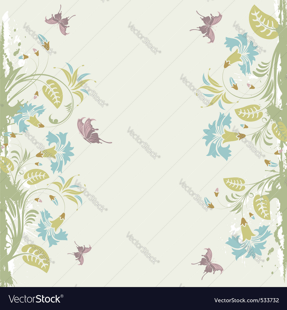 Grunge decorative floral frame with butterfly elem