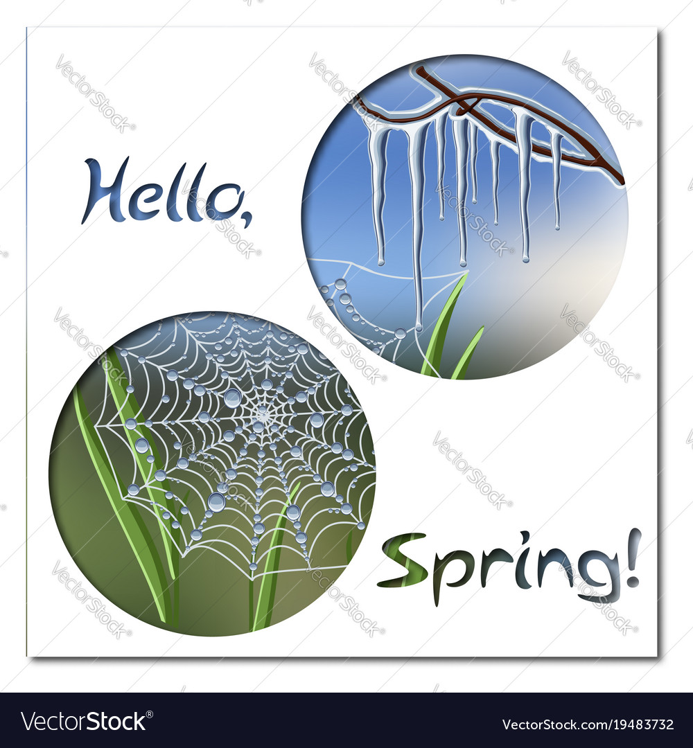 hello spring greeting card template with icicles vector image