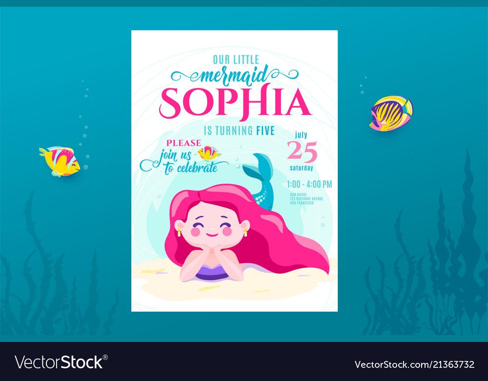 Mermaid birthday cute invite card design