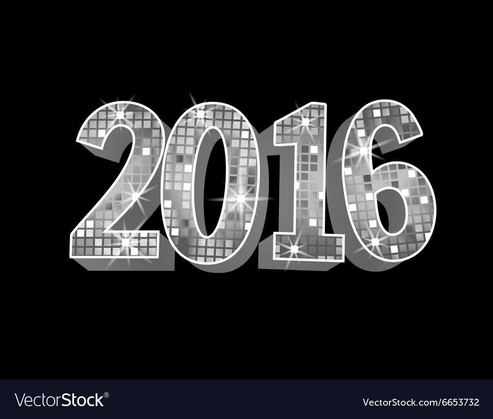 Number 2016 formed by glowing silver squares