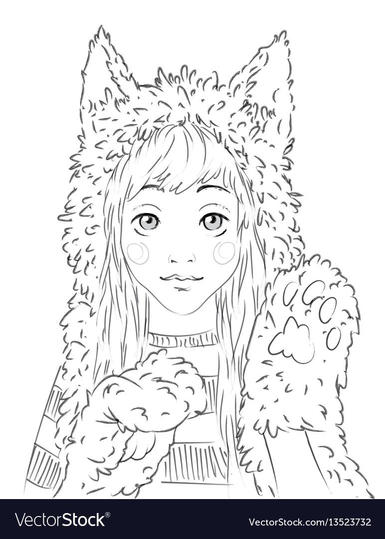 Portrait of a cute teen girl in animal hat