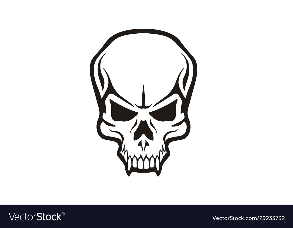Scary tattoo skull skeleton head teeth horror logo