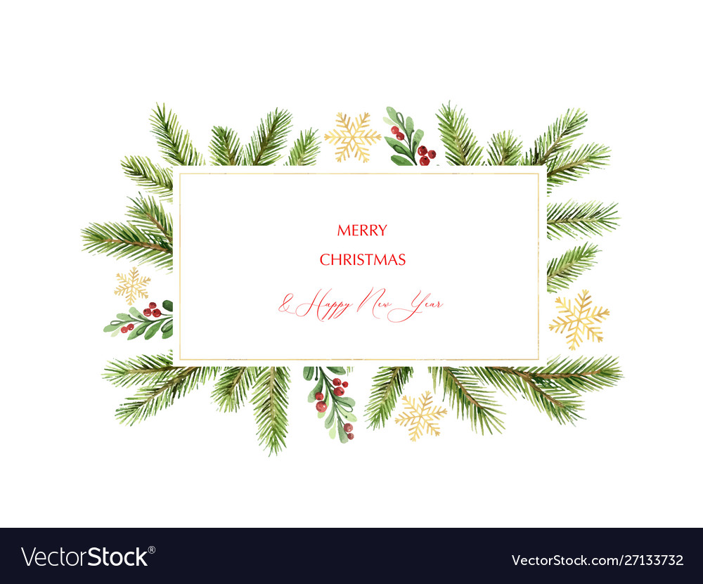 Watercolor christmas banner with green pine