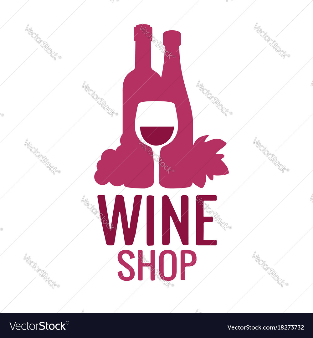 Wine icon or logo bottle glass of wine bunch of