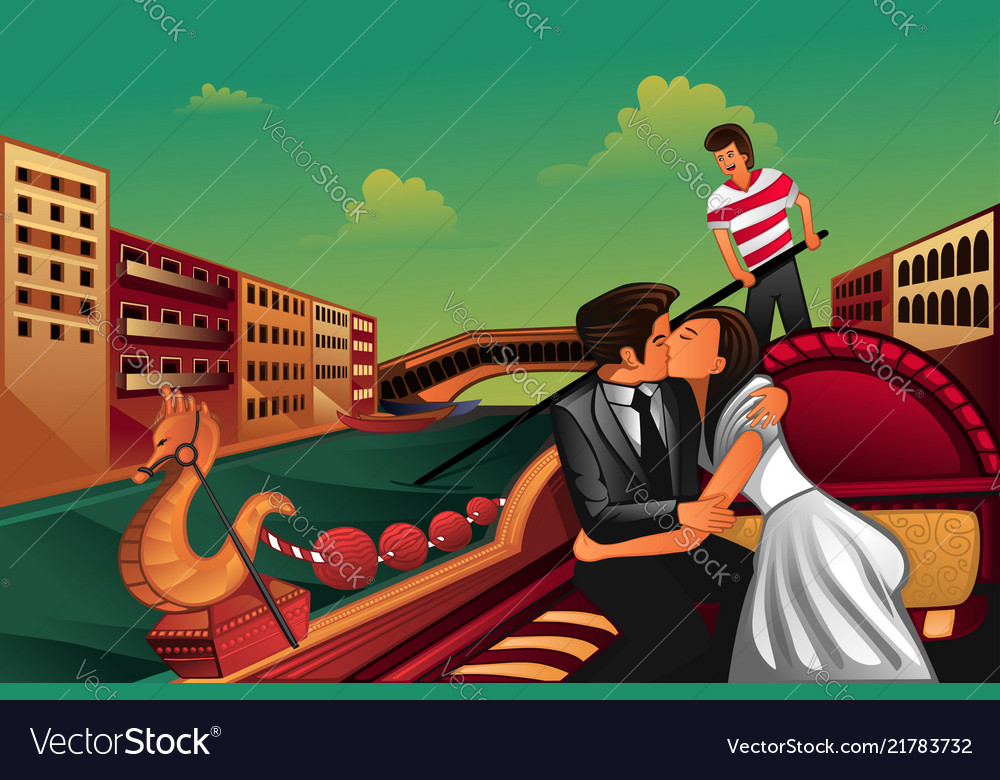 Young couple kissing on boat