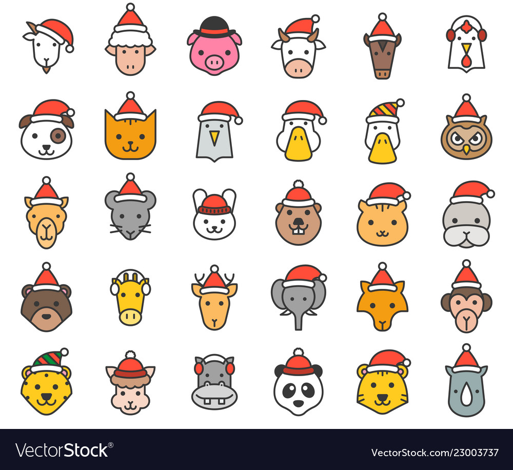 Animal face with santa hat filled icon editable