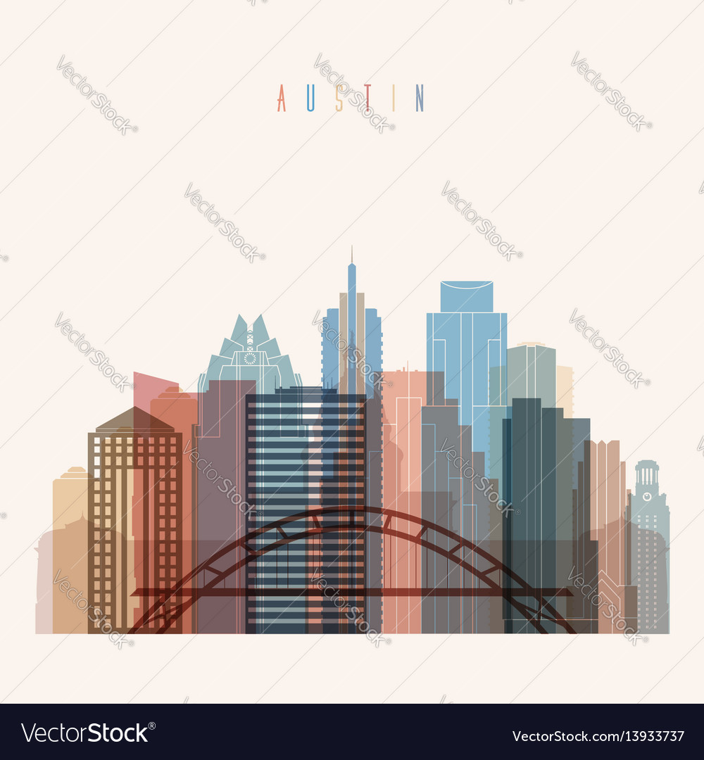 Austin state texas skyline detailed silhouette vector image