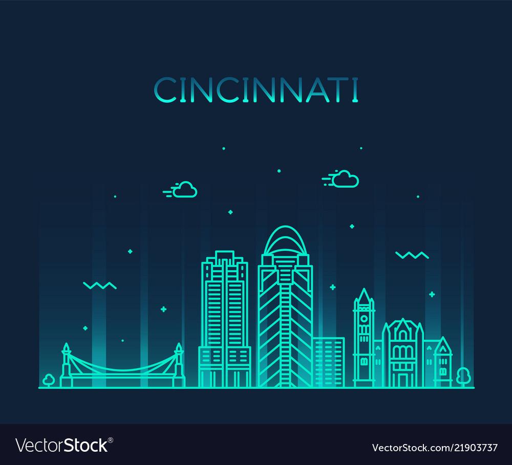 Cincinnati skyline ohio usa linear city