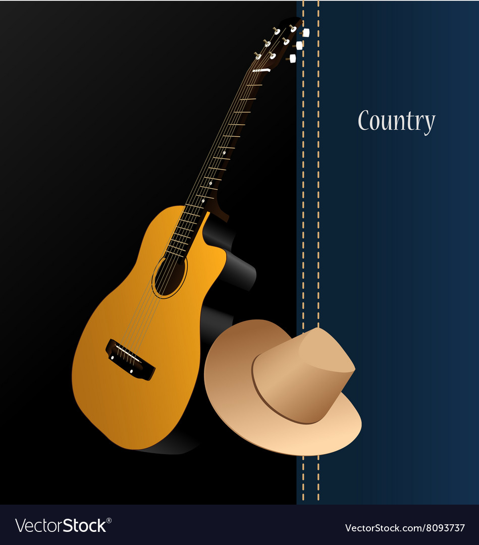 Classical acoustic guitar cowboy hat