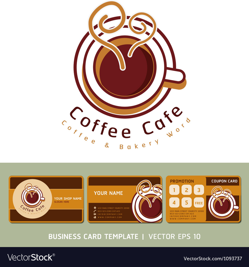 Coffee cafe icon logo and business card design vector image wajeb