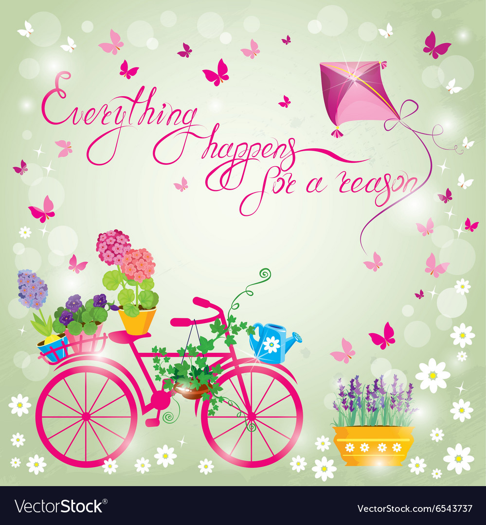 Image with flowers in pots and bicycle on sky blue