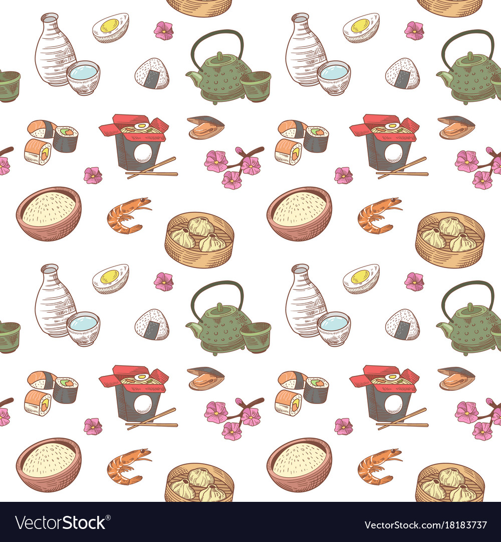 Japanese food hand drawn seamless background