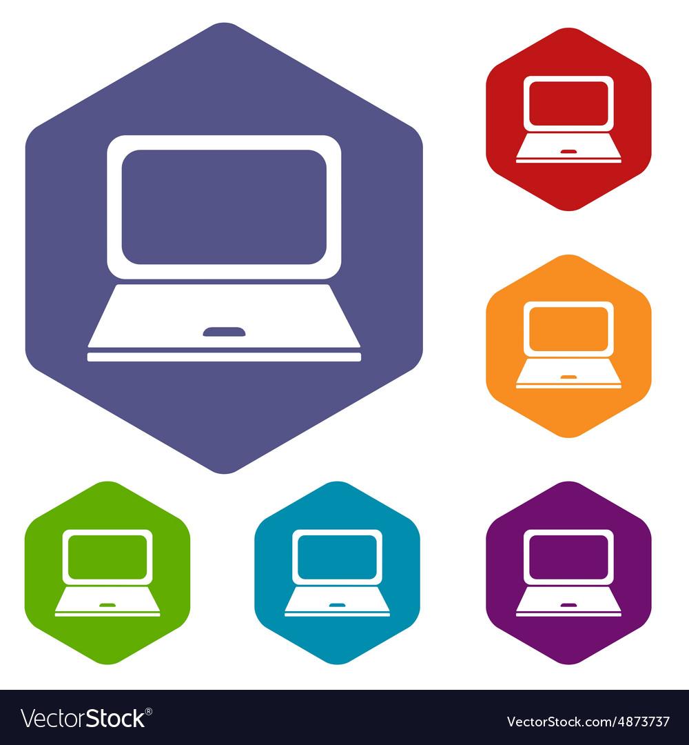 Laptop hexagon icon set Royalty Free Vector Image