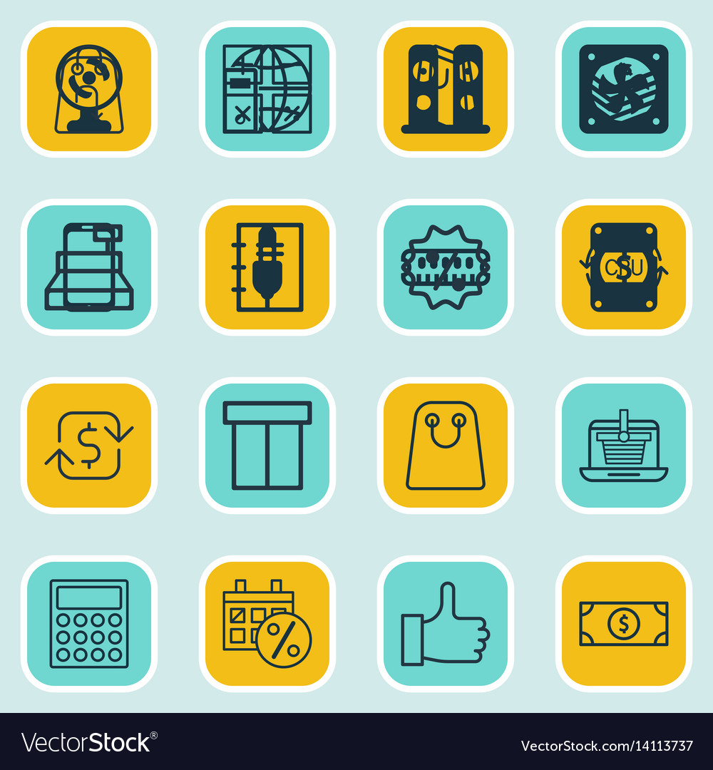 Set of 16 commerce icons includes recurring