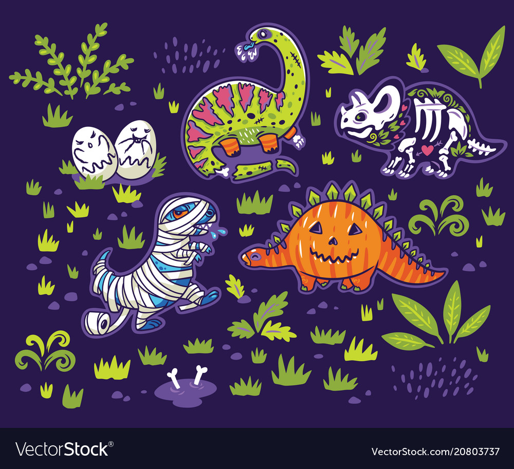 Set of cartoon dinosaurs in costumes of a pumpkin