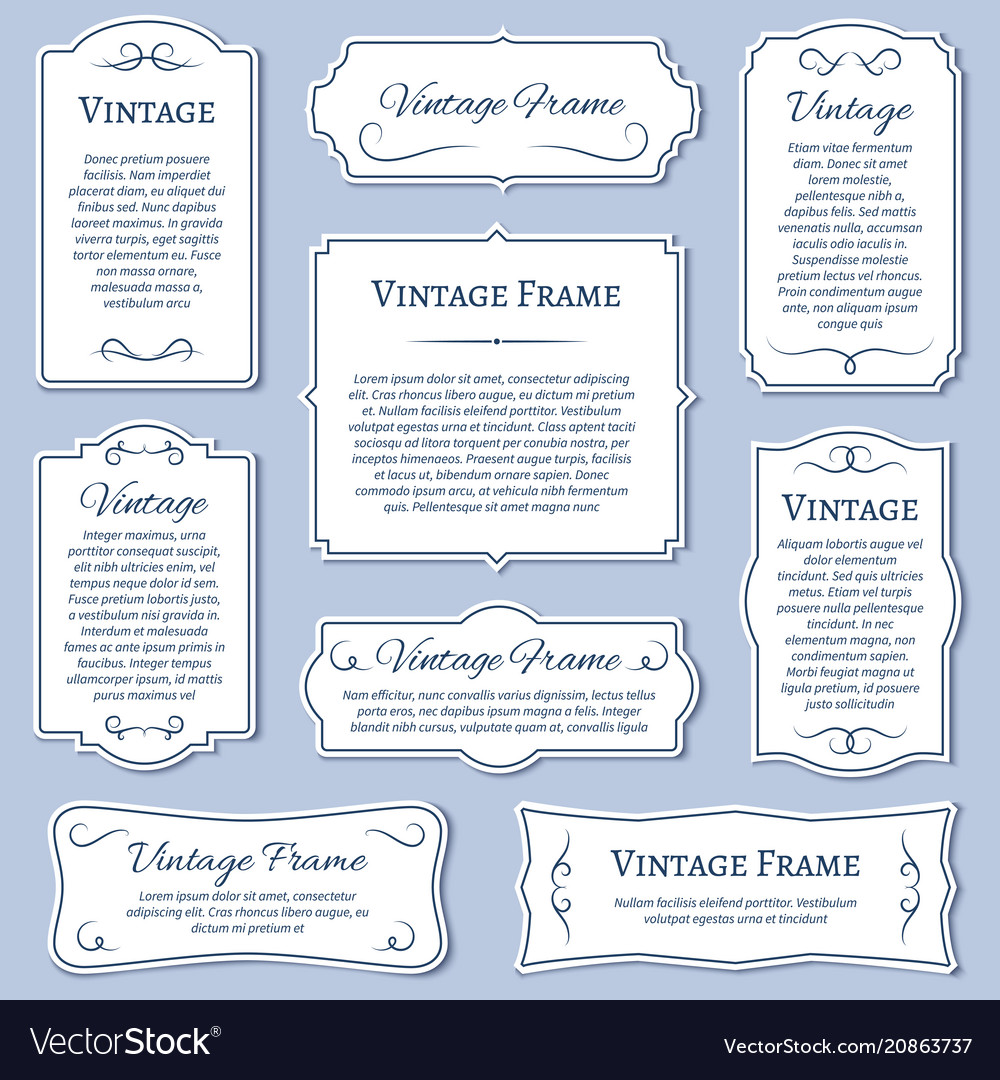 Vintage frame labels with calligraphic text
