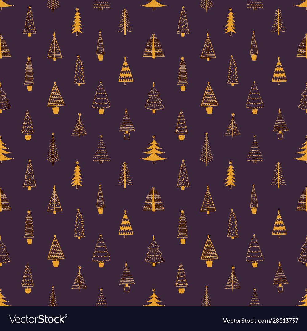 Xmas trees seamless pattern hand drawn