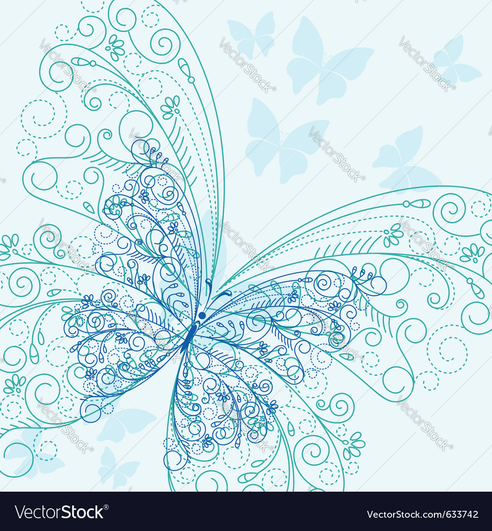 Beautiful blue butterflyes in flourish style for i