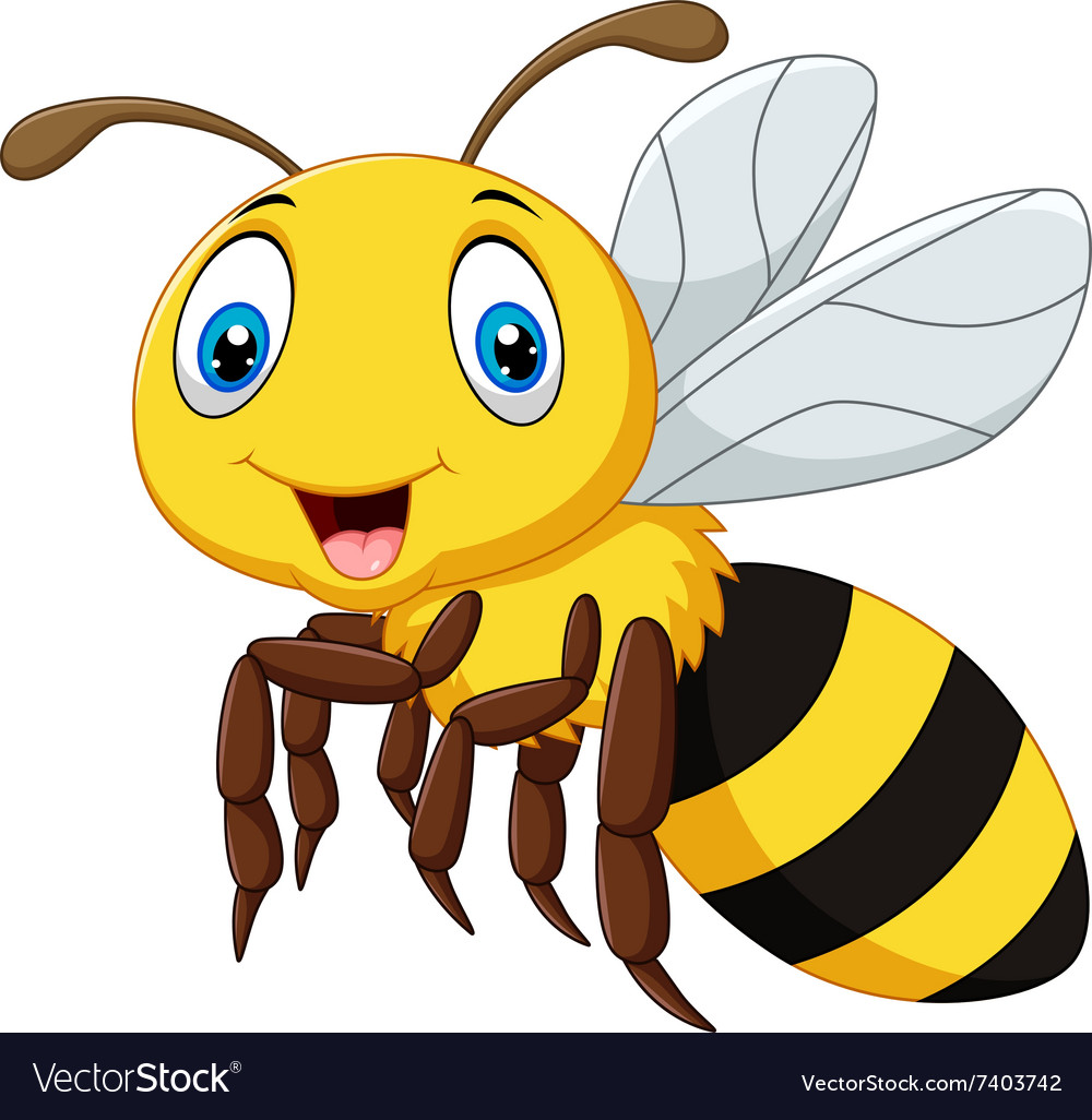 Cartoon smile bee flying isolated