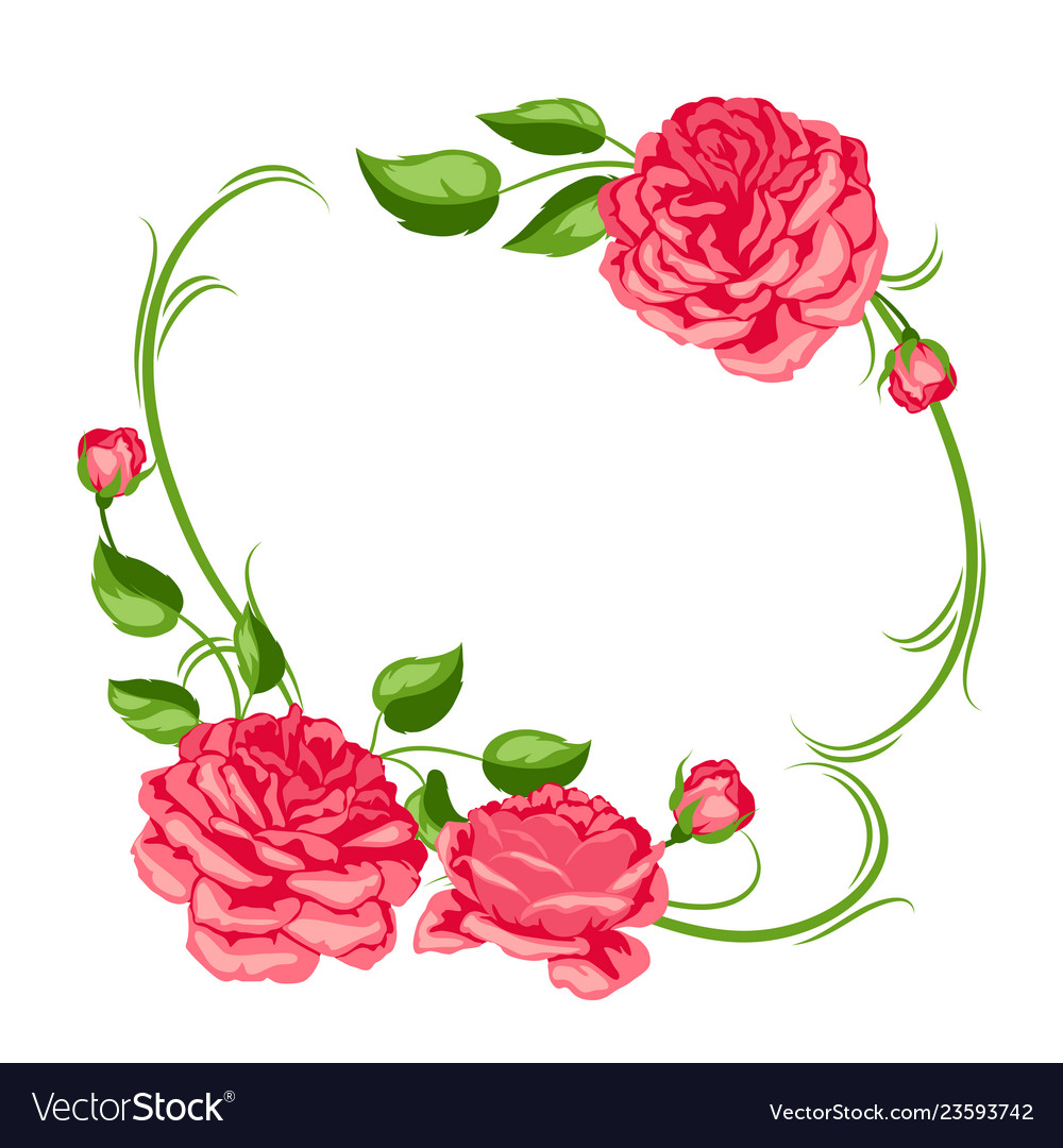Frame with red roses beautiful decorative flowers