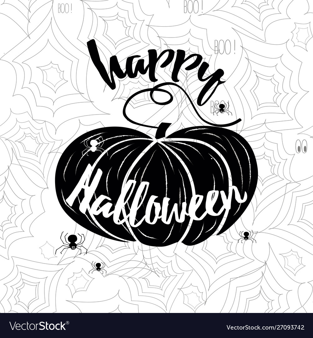 Happy halloween banner holiday calligraphy