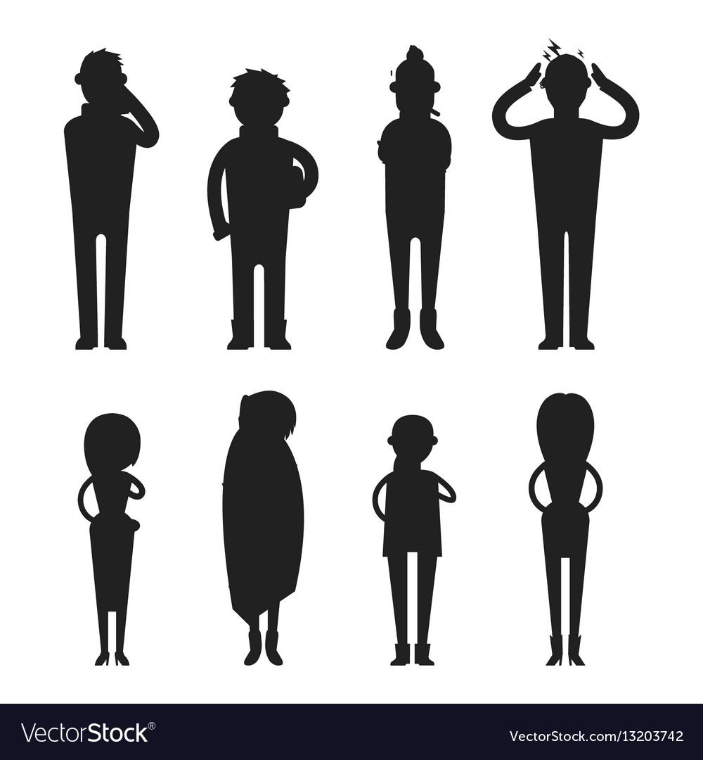 illness flu people feeling cold silhouette vector image