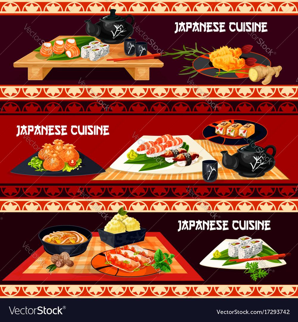 Japanese cuisine banner for restaurant sushi bar vector image