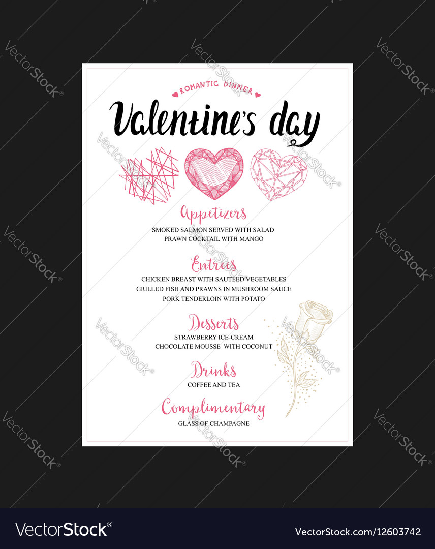 Menu Flyer For Valentine Day Dinner Royalty Free Vector