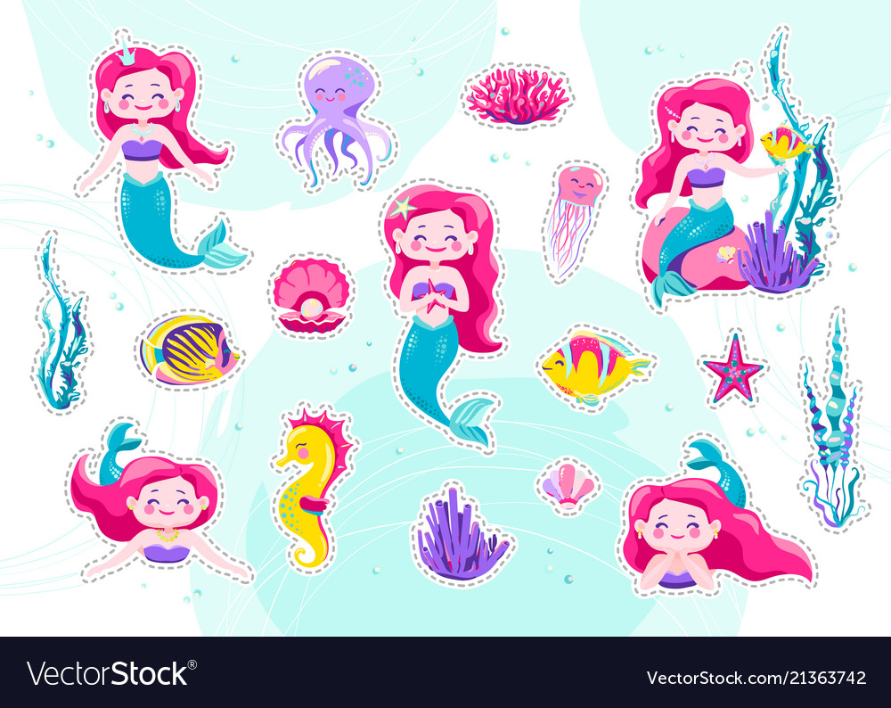 Mermaid cute stickers cartoon little princess