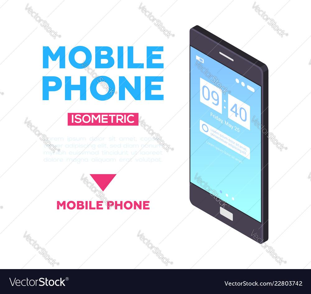 Mobile phone web banner - modern isometric