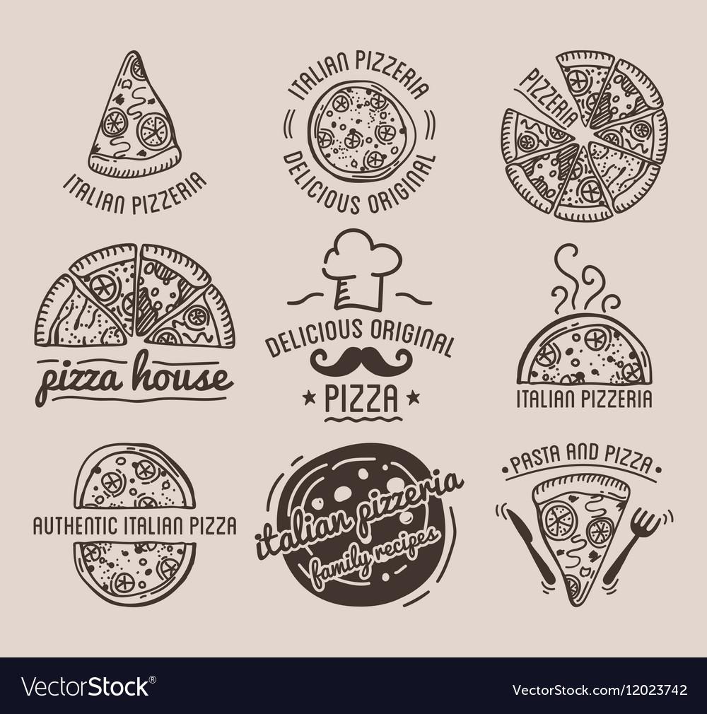 Pizza Label Design Typographic Set