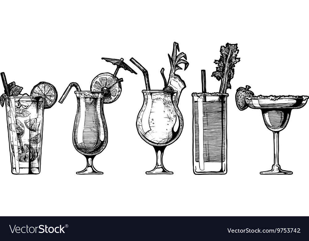 Set of alcohol cocktail vector image