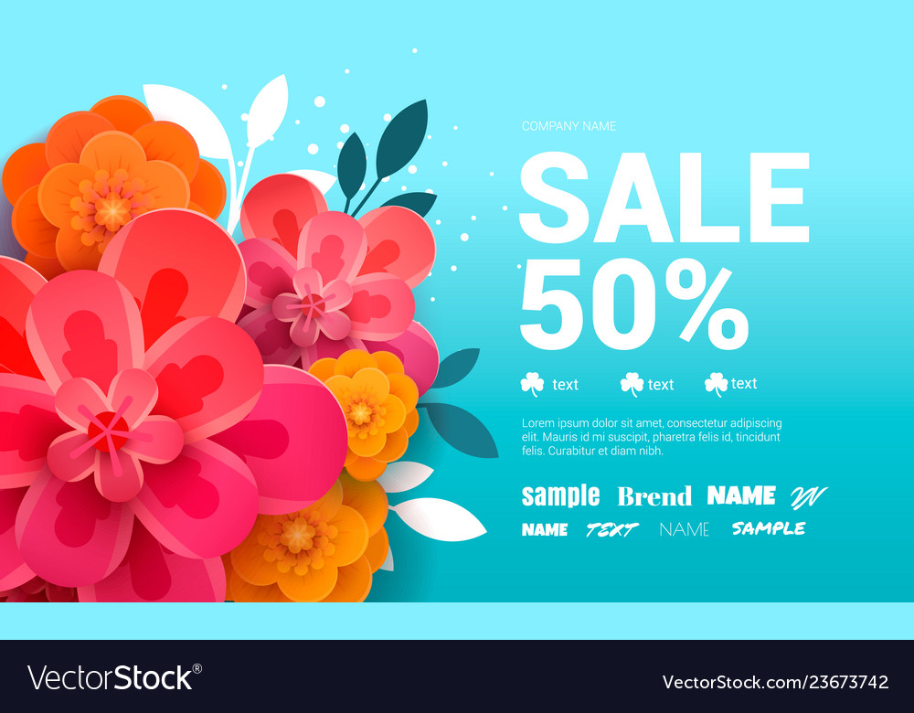 Spring sale banner with flowers amd leaves