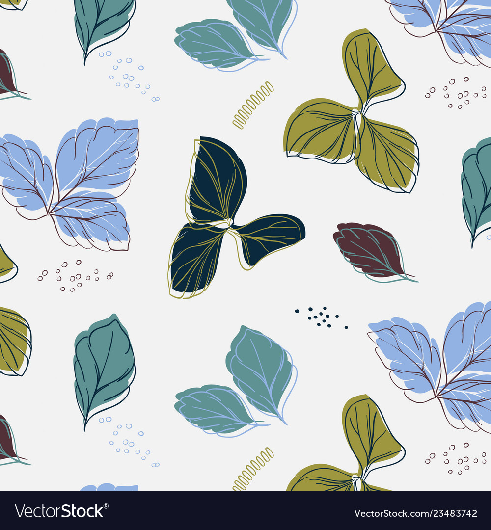 Tropical blue green palm leaves with grunge