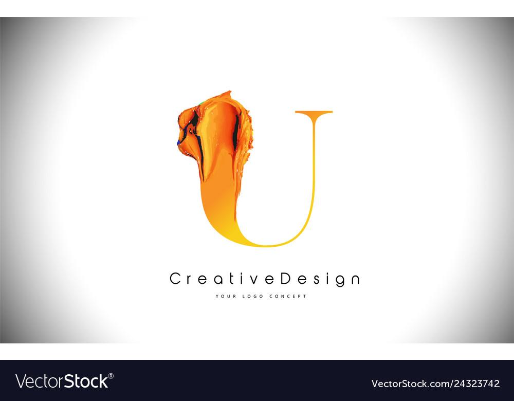 U orange letter design brush paint stroke gold