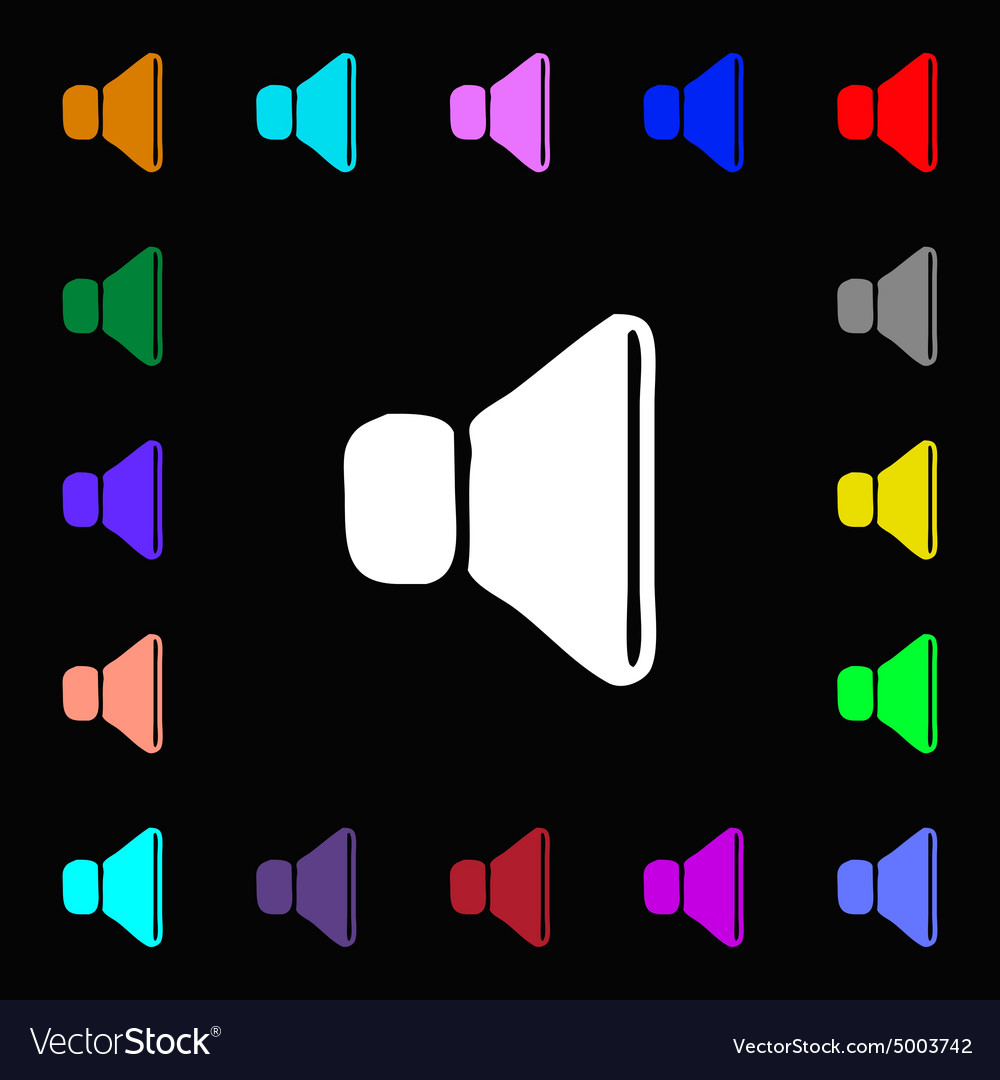 Volume sound icon sign Lots of colorful symbols vector image
