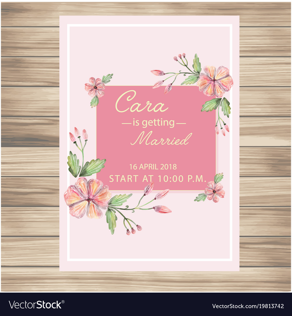 Wedding invitation pink flowers pink background ve