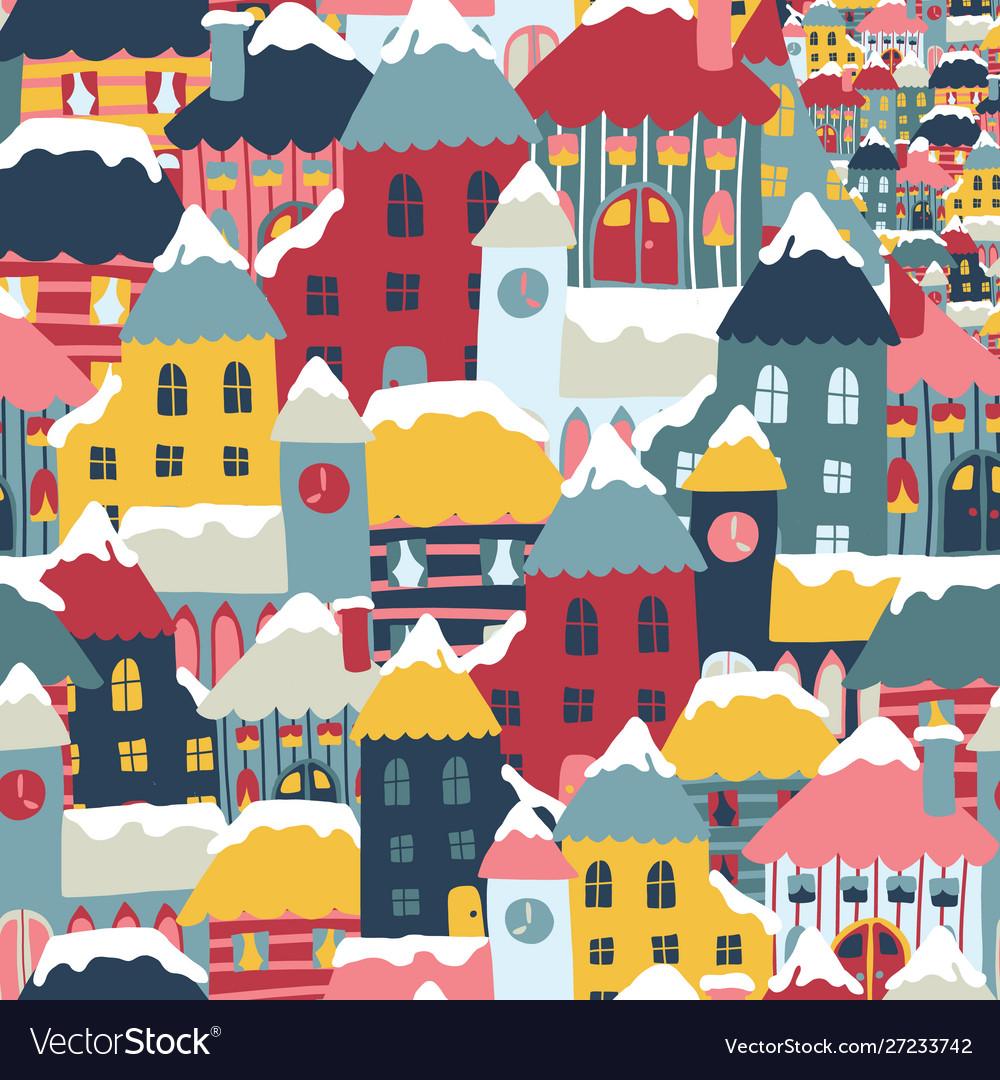 Winter city cityscape cartoon seamless