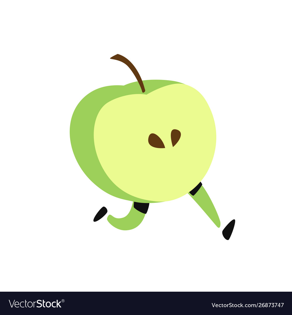 A running apple icon tasty green fruit flat