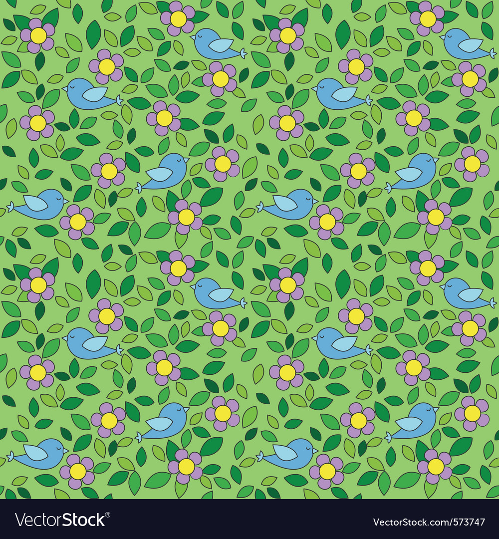 Birds and flowers background vector image